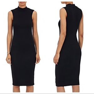 atm / black rubbed high neck bodycon dress lbd